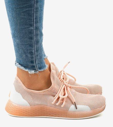 Srebrne sneakersy damskie z brokatem Feel this